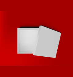 white open empty squares cardboard box on red vector image