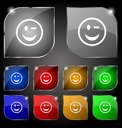 Winking Face icon sign Set of ten colorful buttons vector