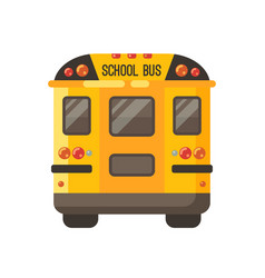 yellow school bus back view flat on white vector image