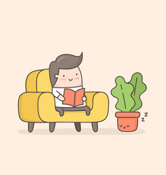 Young man reading a book in cozy living room vector