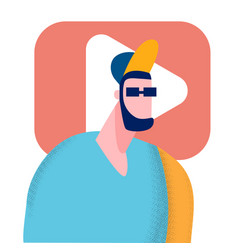 young streamer vlogger flat vector image