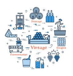 blue round vintage of grape concept vector image