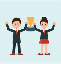 businessman and businesswoman holding winning vector image vector image