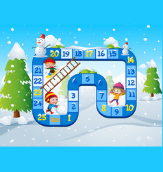 game template with kids playing in snow background vector image