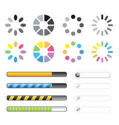 loading and buffering icon set vector image vector image