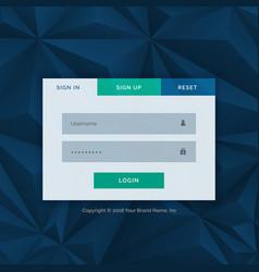 modern login form template for your web design vector image vector image