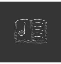 Music book drawn in chalk icon vector