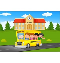 School Kids Riding a School bus vector image vector image