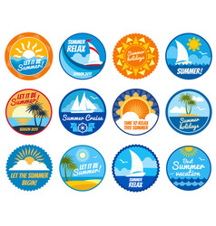 summer party labels and emblems with sun vector image vector image