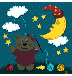 Bear girl sews night vector