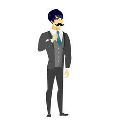 cheerful groom with a fake mustache vector image