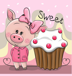 Greeting card cute pig with cake vector