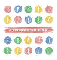 Handdrawn exclamation marks on highlight spots set vector image vector image