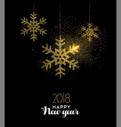 happy new year 2018 gold glitter snow decoration vector image vector image