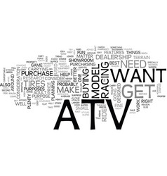 which atv is right for you text word cloud concept vector image vector image