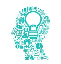 blue light bulb with icons in head vector image vector image