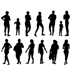 Collection of silhouettes of people vector image