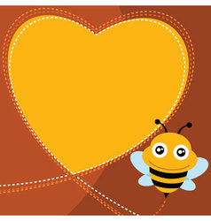 Flying bee and heart shape vector image