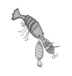 Grayscale lobster bitting spinner object to catch vector