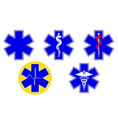 medical international symbols set star of life vector image