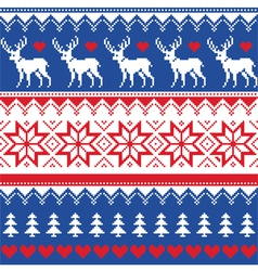 Nordic seamless pattern with deer and christmas vector image