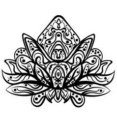 ornamental lotus ethnic zentangled tattoo vector image
