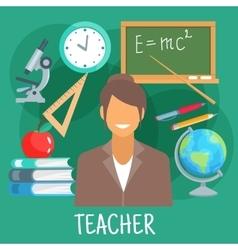 Teacher in classroom with school supplies symbol vector image