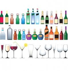 bottle glasses vector image vector image