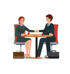 businessman and business woman shaking hand over vector image vector image