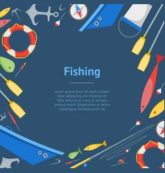 cartoon fishing banner card vector image