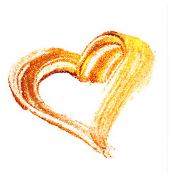 gold paint heart on transparent background vector image