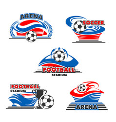 icons soccer or football arena stadium vector image vector image