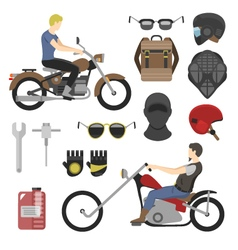 motorcyclist set helmets glasses and tools vector image