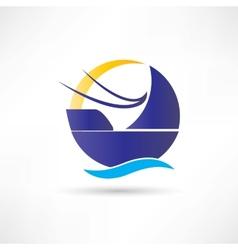 sailboat sea sun icon vector image vector image
