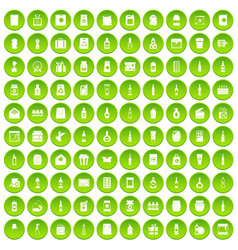 100 packaging icons set green circle vector