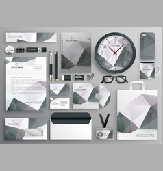 Abstract gray business stationery template vector