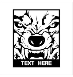 angry wolf hand drawing vector image