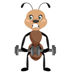 Ant with weights on white background vector
