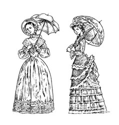 Antique ladies dame with umbrella victorian vector