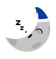 Asleep cute moon weather icon vector