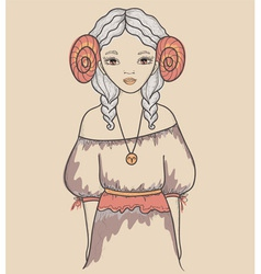 Astrological sign of the zodiac is aries girl vector