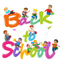 back to school text jelly with student vector image