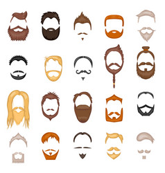 Beard and hair man face mask hairstyle cartoon vector
