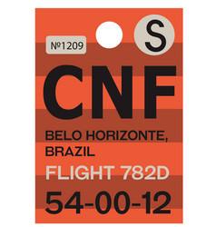 belo horizonte airport luggage tag vector image