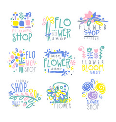 best flower shop set of logo templates hand drawn vector image