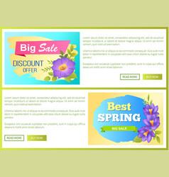 Big spring sale advertisement label flowers web vector