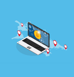 Bitcoin with laptop and target symbols vector