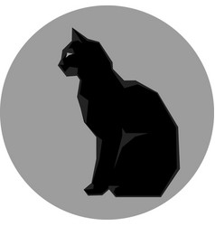 Black silhouette of cat dark wild vector