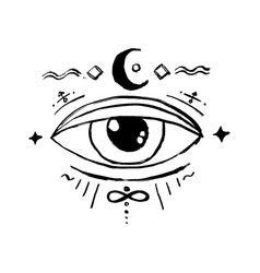 blackwork tattoo flash eye providence masonic vector image