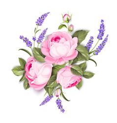 blooming spring flowers garland of purple roses vector image